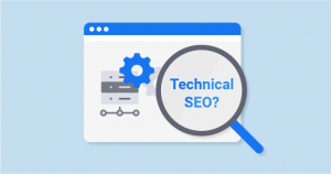Magnifying Glass showing Technical SEO